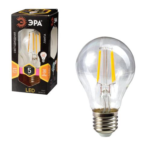Лампа светодиодная ЭРА, 5 (40) Вт, цоколь E27, грушевидная, теплый белый свет, 30000 ч., F-LED А60-5w-827-E27