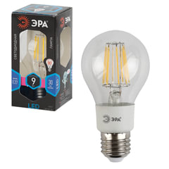 Лампа светодиодная ЭРА, 9 (80) Вт, цоколь E27, грушевидная, холодный белый свет, 30000 ч., F-LED А60-9w-840-E27