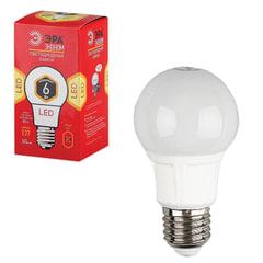 Лампа светодиодная ЭРА, 6 (40) Вт, цоколь E27, грушевидная, теплый белый свет, 25000 ч., LED smdA60-6w-827-E27ECO