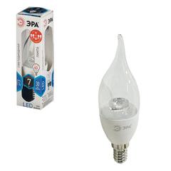 Лампа светодиодная ЭРА, 7 (60) Вт, цоколь E14, «прозрачная свеча на ветру», холодный белый свет, LED smdBXS-7w-840-E14-Clear