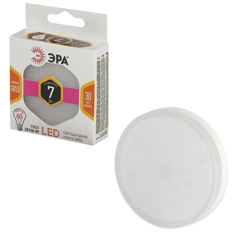 Лампа светодиодная ЭРА, 7 (60) Вт, цоколь GX53, GX, теплый белый свет, 30000 ч., LED smdGX-7w-827-GX53
