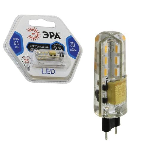 Лампа светодиодная ЭРА, 2,5 (25) Вт, цоколь G4, JC, холодный белый свет, 30000 ч., LED smdJC-2,5w-corn-840-G4