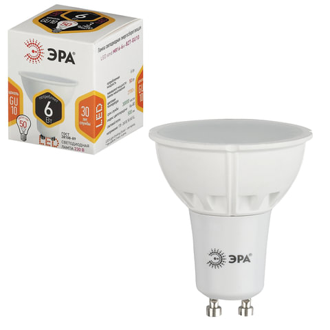 Лампа светодиодная ЭРА, 6 (50) Вт, цоколь GU10, MR16, теплый белый свет, 30000 ч., LED smdMR16-6w-827-GU10