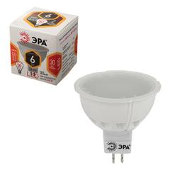 Лампа светодиодная ЭРА, 6 (50) Вт, цоколь GU5.3, MR16, теплый белый свет, 30000 ч., LED smdMR16-6w-827-GU5.3