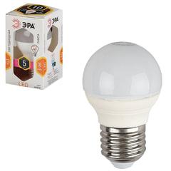 Лампа светодиодная ЭРА, 5 (40) Вт, цоколь E27, шар, теплый белый свет, 30000 ч., LED smdP45-5w-827-E27