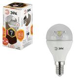 Лампа светодиодная ЭРА, 7 (60) Вт, цоколь E14, прозрачный шар, теплый белый свет, 30000 ч., LED smdP45-7w-827-E14-Clear