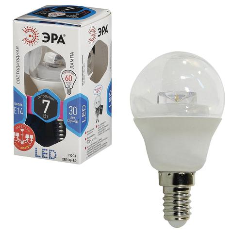 Лампа светодиодная ЭРА, 7 (60) Вт, цоколь E14, прозрачный шар, холодный белый свет, 30000 ч., LED smdP45-7w-840-E14-Clear