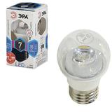 Лампа светодиодная ЭРА, 7 (60) Вт, цоколь E27, прозрачный шар, холодный белый свет, 30000 ч., LED smdP45-7w-840-E27-Clear