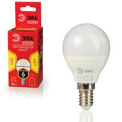 Лампа светодиодная ЭРА, 6 (40) Вт, цоколь E14, шар, теплый белый свет, 25000 ч., LED smdР45-6w-827-E14ECO