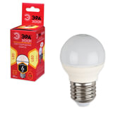 Лампа светодиодная ЭРА, 6 (40) Вт, цоколь E27, шар, теплый белый свет, 25000 ч., LED smdР45-6w-827-E27ECO