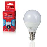 Лампа светодиодная ЭРА, 6 (40) Вт, цоколь E14, шар, холодный белый свет, 25000 ч., LED smdР45-6w-840-E14ECO