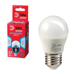 Лампа светодиодная ЭРА, 6 (40) Вт, цоколь E27, шар, холодный белый, 25000 ч., LED smdР45-6w-840-E27ECO