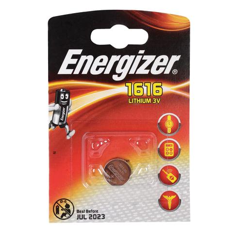 Батарейка ENERGIZER CR 1616, литиевая, d=16 мм, h=1,6 мм, в блистере (1 шт.), 3 В