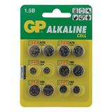 Батарейки GP (Джи-Пи) Alkaline, комплект 12 шт. (LR44 — 4 шт.; LR60, LR43, LR54, LR41 по 2 шт.), блистер, 1,5 В