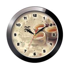 Часы настенные TROYKA 11100188, круг, бежевые с рисунком в азиатском стиле, черная рамка, 29×29×3,5 см