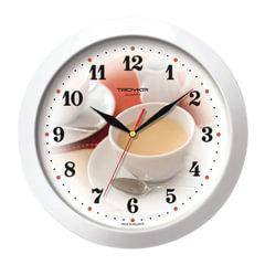 Часы настенные TROYKA 11110187, круг, белые с рисунком «Чашка кофе», белая рамка, 29×29×3,5 см