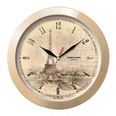 Часы настенные TROYKA 11135152, круг, бежевые с рисунком «Париж», бежевая рамка, 29×29×3,5 см