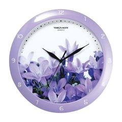 Часы настенные TROYKA 11143123, круг, белые с рисунком «Колокольчики», сиреневая рамка, 29×29×3,5 см