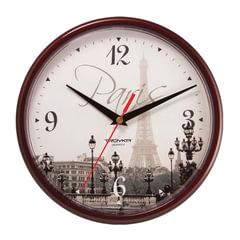 Часы настенные TROYKA 91931927, круг, с рисунком «Paris», коричневая рамка, 23×23×4 см