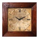 Часы настенные САЛЮТ ДСТ-4АС28-462, квадрат, с рисунком «Магеллан», деревянная рамка, 35×35×4,5 см