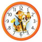 Часы настенные САЛЮТ ПЕ-Б2.1-227, круг, белые с рисунком «Дружок», оранжевая рамка, 24,5×24,5×3,5 см