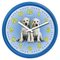 Часы настенные САЛЮТ ПЕ-Б4.1-232, круг, голубые с рисунком «Собаки», голубая рамка, 24,5×24,5×3,5 см