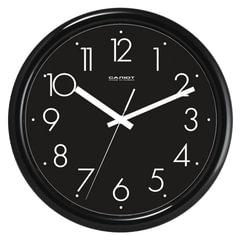 Часы настенные САЛЮТ ПЕ-Б6-266, круг, черные, черная рамка, 24,5×24,5×3,5 см