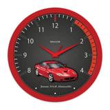 Часы настенные САЛЮТ П-Б1-383, круг, черные с рисунком «Феррари», красная рамка, 28×28×4 см