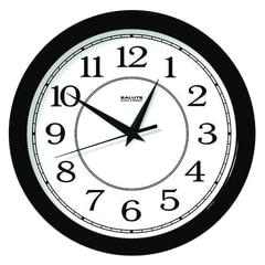 Часы настенные САЛЮТ П-Б6-014, круг, белые, черная рамка, 28×28×4 см