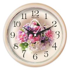 Часы настенные САЛЮТ ПЕ-Б7-219, круг, с рисунком «Белая корзинка», бежевая рамка, 24,5×24,5×3,5 см