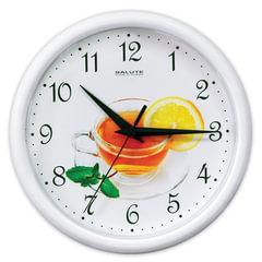 Часы настенные САЛЮТ ПЕ-Б7-246, круг, белые с рисунком «Чай», белая рамка, 24,5×24,5×3,5 см