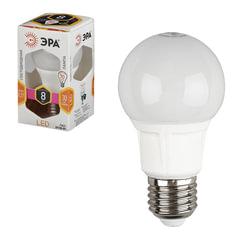 Лампа светодиодная ЭРА, 8 (70) Вт, цоколь E27, грушевидная, теплый белый свет, 25000 ч., LED smdA60-8w-827-E27