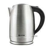 Чайник VITEK VT-7033, закрытый нагревательный элемент, объем 1,7 л, 2200 Вт, сталь