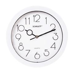 Часы настенные SCARLETT SC-09D, круг, белые, белая рамка, 25,5×25,5×4,6 см