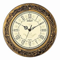 Часы настенные SCARLETT SC-WC1007I, круг, бежевые, рамка под металл, 31×31×5,2 см