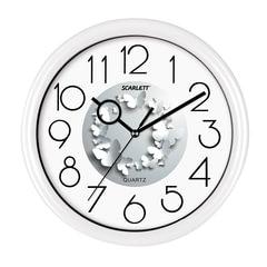 Часы настенные SCARLETT SC-WC1013O, круг, серебристые с принтом «Бабочки», белая рамка, 25,5×25,5×5,2 см