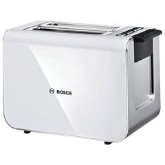 Тостер BOSCH TAT8611, 860 Вт, 2 тоста, разморозка, подогрев, решетка для булочек, нержавеющая сталь, белый