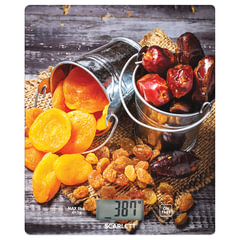 Весы кухонные SCARLETT SC-KS57P33, электронный дисплей, max вес 8 кг, тарокомпенсация, сталь