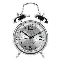 Часы-будильник SCARLETT SC-AC1008M, повтор сигнала, механический сигнал, пластик/<wbr/>металл, серебристые