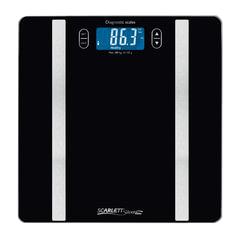 Весы напольные SCARLETT SL-BS34ED42, электронные, 3 в 1, максимальная нагрузка 150 кг, квадратные, стекло, черные