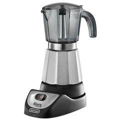 Кофеварка гейзерная DELONGHI EMKM.6.B, 450 Вт, объем 0,6 л, подогрев, автовыключение, черный/<wbr/>серебристый
