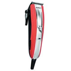 Машинка для стрижки волос SCARLETT SC-HC63C15, 5 установок длины, 4 насадки, сеть, красная