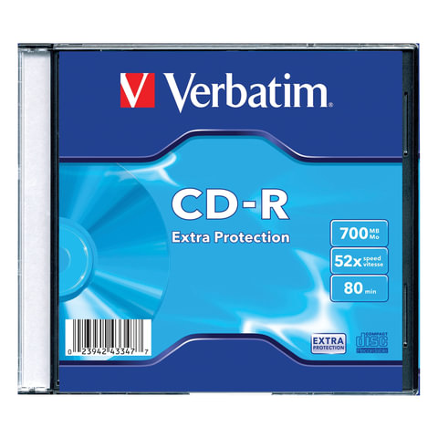 Диск CD-R VERBATIM DL, 700 Mb, 52х, Slim Case