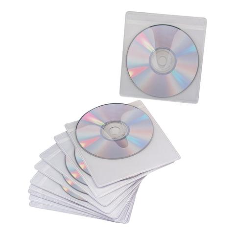 Конверты для CD/<wbr/>DVD BRAUBERG (БРАУБЕРГ), комплект 10 шт., на 1CD/<wbr/>DVD, самоклеящиеся, с европодвесом