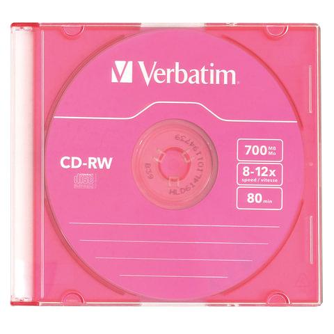 Диск CD-RW VERBATIM, 700 Mb, 8х-12х, Colour Slim Case