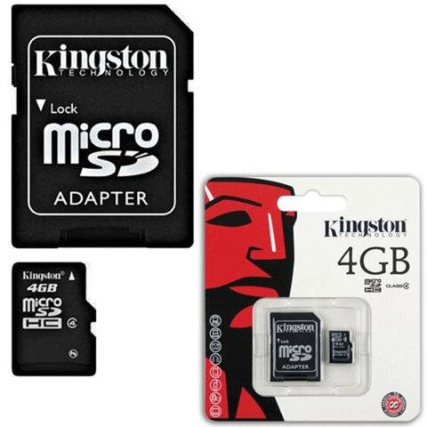Карта памяти micro SDHC, 4 Gb, KINGSTON, скорость передачи данных 4 Мб/<wbr/>сек. (class 4), с адаптером