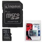 Карта памяти micro SDHC, 8 Gb, KINGSTON, скорость передачи данных 4 Мб/<wbr/>сек. (class 4), с адаптером