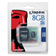 ����� ������ micro SDHC, 8 Gb, KINGSTON, �������� �������� ������ 4 ��/<wbr/>���. (class 4), � ���������