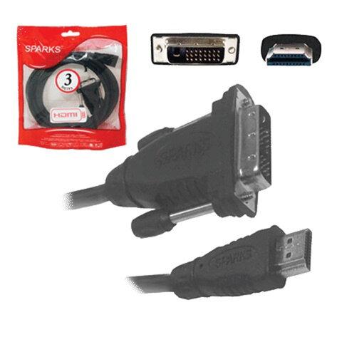 Кабель HDMI-DVI-D, 3 м, SPARKS, 2 фильтра, для передачи цифрового видео