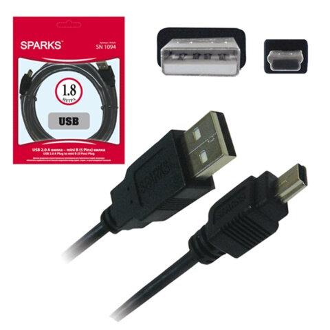 Кабель USB — mini USB (5P) SPARKS, 1,8 м, для подключения портативных устройств
